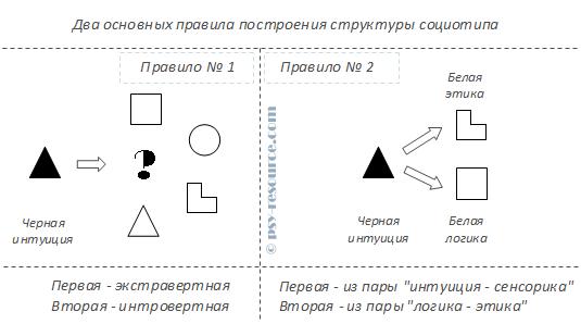Два основных правила построения структуры социотипа
